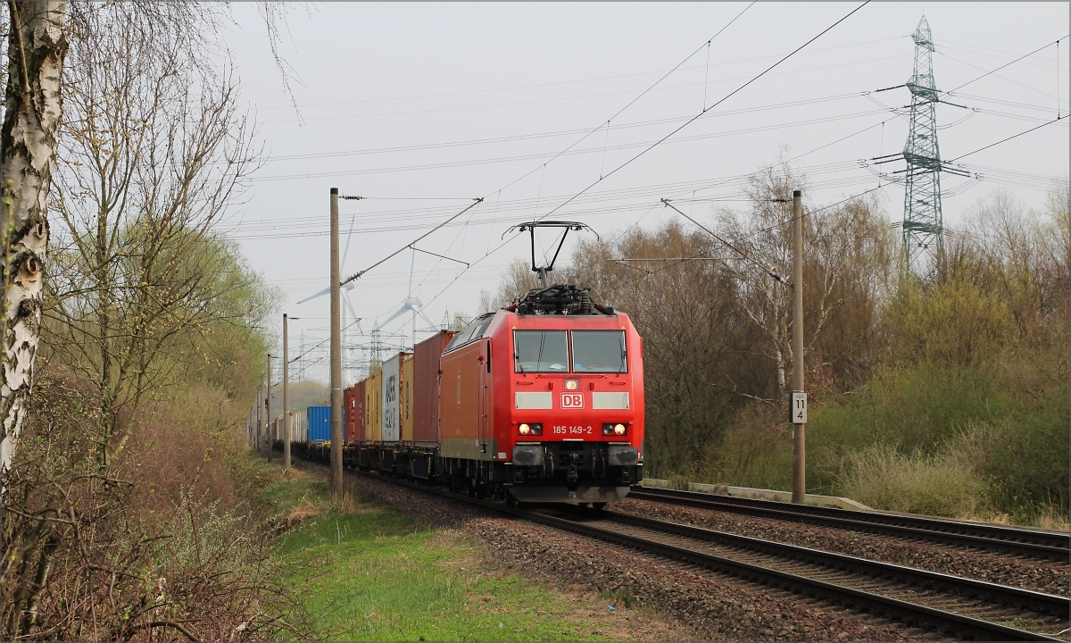 185 149 mit Containerzug am 01.04.17 in Hamburg Moorburg