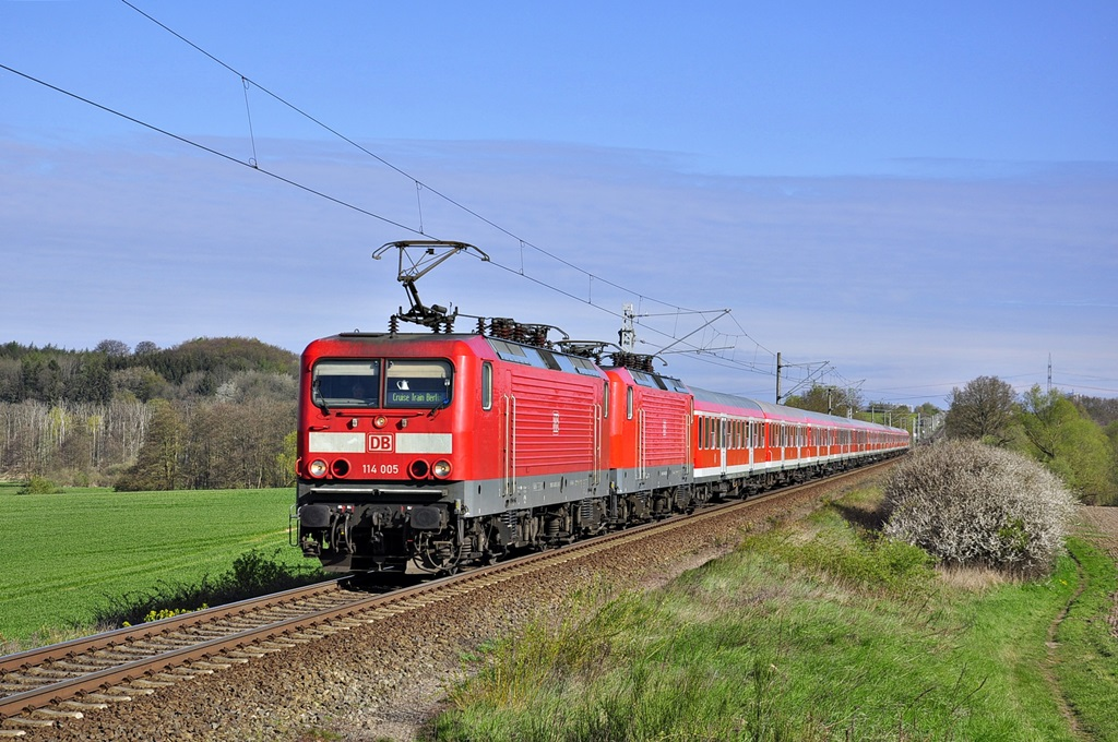 Den Saison-Start legete am 28.04.2017 114 005 mit RE 13290 hin.