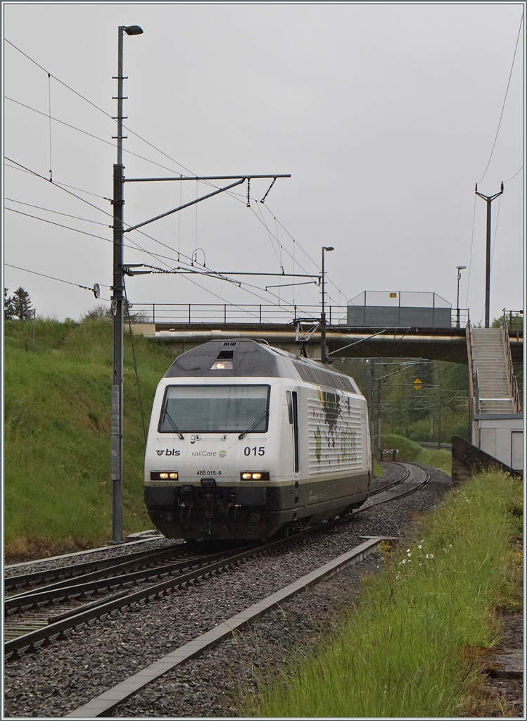 Die BLS Re 465 015 (UIC N°: 91 85 4465 015 6)  CAT'S EYE  in Vufflens la Ville. 28. April 2014