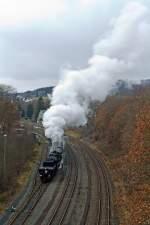 BR 52/169365/die-betzdorfer-52-8134-0-am-26112011 Die Betzdorfer 52 8134-0 am 26.11.2011 auf Nikolausfahrt, zwischen Dillenburg und Würgendorf. Hier hat sie Tender voraus den Bahnhof Burbach-Würgendorf wieder in Richtung Dillenburg verlassen.