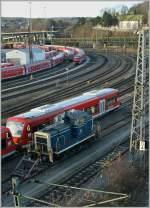 br-260-261360-365-v60-west/106484/fast-wie-ein-fremdkoerper-wirkt-die Fast wie ein Fremdkörper wirkt die 365 143-7 inmitten der DB-roten Fahrzeuge in Ulm.  14. Nov. 2010