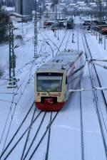 br-0650-stadler-regio-shuttle-rs1/57199/der-br-650-regioshuttle-der-hzl Der BR 650 Regioshuttle der HZL auf dem Weg von Bräunlingen nach Trossingen Stadt im Donaueschinger Bahnhof aufgenommen am 02.01.2010