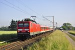 114 005 bespannt den RE 13290 nach Berlin am 04.06.2016,hier in Gragetopshof.