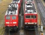 BR 6151/175268/151-116-1-und-155-220-7-standen 151 116-1 und 155 220-7 standen abgestellt in Maschen als jeweils erste Lok eines langen Lokzuges. 07.01.12