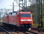 br-6152-es-64-f/66372/152-003-0-und-eine-weitere-152 152 003-0 und eine weitere 152 fuhren am 24.4 durch Hamburg-Harburg.