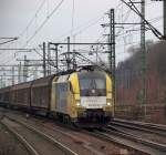 br-6182-es-64-u2-/116096/es-64-u2-016-von-dispo-fuhr ES 64 U2-016 von Dispo fuhr im Auftrag von Hectorrail mit einem Transwaggonszug durch Hamburg-Harburg am 15.1.