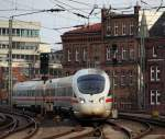 br-0605-ice-d/127226/als-ice-34-aus-kopenhagen-kam Als ICE 34 aus Kopenhagen kam 605 020 'Rendsburg' in die Bahnhofseinfahrt vom Hamburger Hbf gefahren.