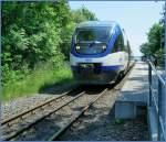 ola-ostseeland-verkehr-gmbh/97532/nur-bei-der-gegenlichtaufnahme-in-lauterbach Nur bei der Gegenlichtaufnahme in Lauterbach Mole ist das Dreischienen Gleis zu erkennen. 'Ola' VT 0008 wartet am 8. Juni 2007 auf Fahrgäste Richtung Bergen.