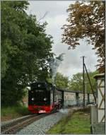 RUBB/152829/die-ruebb-99-1792-4-erreicht-mit Die RüBB 99 1792-4 erreicht mit ihrem Personenzug Baabe.  19.09.2010