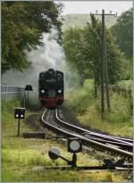 RUBB/99687/die-ruebb-99-4011-5-trifft-am Die RüBB 99 4011-5 trifft am 16. Sept. 2010 mit ihrem P 222 in Binz LB ein.
