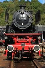 eisenbahnmuseum-bochum-dahlhausen/95374/66-002-auf-der-drehscheibe-am 66 002 auf der Drehscheibe am 18.09.10 in Bochum Dahlhausen