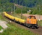 Bilder aus Harrbach/89439/214-020-der-bbl-mit-bauzug 214 020 der BBL mit Bauzug am 20.08.10 bei Harrbach