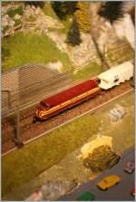 Die Bahn im Modell/146499/aufsicht-vom-wanderweg-auf-die-strecke Aufsicht vom Wanderweg auf die Strecke: CFL 1601 mit einem Güterzug auf meiner mini club Anlage. 11.06.2011