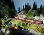 Die Bahn im Modell/289900/sbb-re-44-ii-mit-einem SBB Re 4/4 II mit einem Eurocity auf meiner Z-Anlage. 18. Nov. 2012