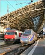 ETR 610/120588/fs-etr-610-von-milano-nach FS ETR 610 von Milano nach Genève beim Halt in Lausanne.  27. Jan. 2011