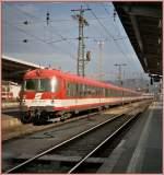 4010-6010/78628/der-et-4010-hier-mit-dem Der ET 4010 (hier mit dem Steuerwagen 6010 013-8) in Graz Hbf im September 2004.  (analoges Foto ab CD)