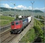 ae-6-6/110266/ae-610-500-1-mit-einem-gueterzug Ae 610 500-1 mit einem Güterzug Richtung Lausanne bei Cully am 12. Juni 2008.