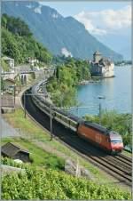 re-460-re-4-4-vi/93108/re-460-013-8-mit-ir-bei Re 460 013-8 mit IR bei der Durchfahrt in Veytaux Chillon am 28. Juni 2009.
