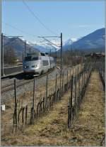 Lyria/125283/tgv-de-neige-von-brig-nach TGV de neige von Brig nach Paris bei Salgesch am 5. März 2011