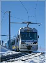 CEV/118187/train-des-etoiles-beh-24-n Train des Etoiles Beh 2/4 N° 72 kurz nach Les Pleiades auf der Fahrt nach Blonay.  31. Jan. 2011
