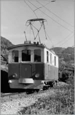 CEV/148756/die-cev-lok-hge-22-n Die CEV Lok HGe 2/2 N° 1 im Sommer 1985 kurz vor Blonay.  (Gescanntes Negativ)