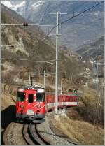MGB/117107/mgb-bdeh-44-mit-eine-regionalzugvon MGB BDeh 4/4 mit eine Regionalzugvon Zermatt nach Brig bei Stalden. 21.01.2011