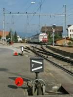 tpf-ex-gfm/97052/tpf-regionalzug-verlaesst-sugiez-richtung-ins TPF Regionalzug verlässt Sugiez Richtung Ins.  6. September 2010