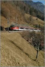 zb-zentralbahn/119780/zb-de-46-110-021-3-mit zb De 4/6 110 021-3 mit einem IR Luzern - Interlaken kurz vor der Haltestelle Eblingen am 5. Februar 2011.