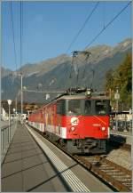 zb-zentralbahn/163947/zb-de-110-001-5-in-brienz1 'zB' De 110 001-5 in Brienz. 1. Okt. 2011